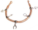 Leather bracelet with braig and charms